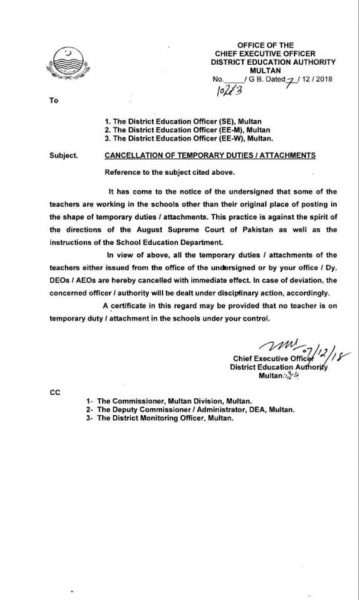Cancellation of Temporary Duties / Attachments