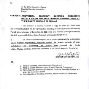 Detail about Fee Charged Beyond Limits by the Private Schools of Punjab