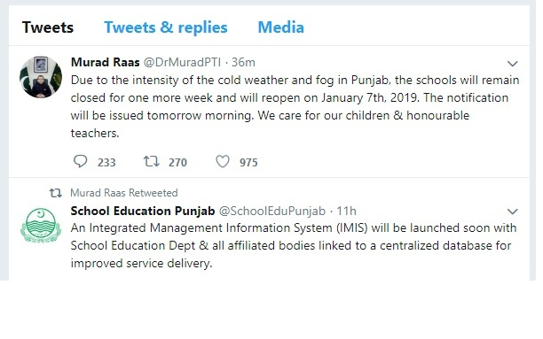 Extension in Winter Holidays Punjab Schools 2018