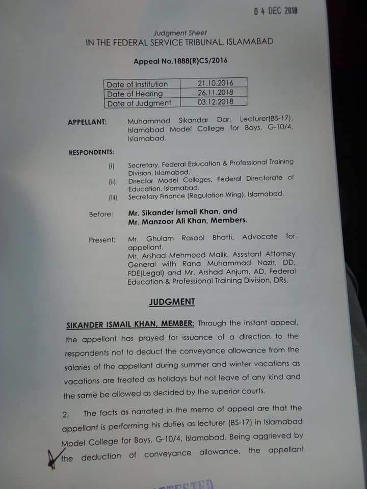 Judgment Sheet Conveyance Allowance during Summer and Winter Vacation FG Teachers