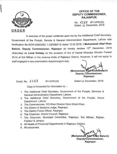 Local Holiday Rajanpur District on 15th December 2018