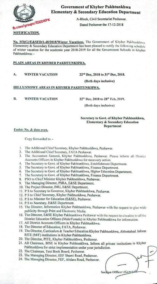 Notification Winter Vacation 2018 KPK