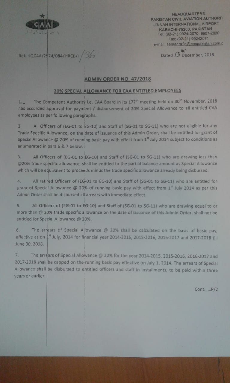 Notification of 20% Special Allowance alongwith Arrears for All CAA Entitled Employees