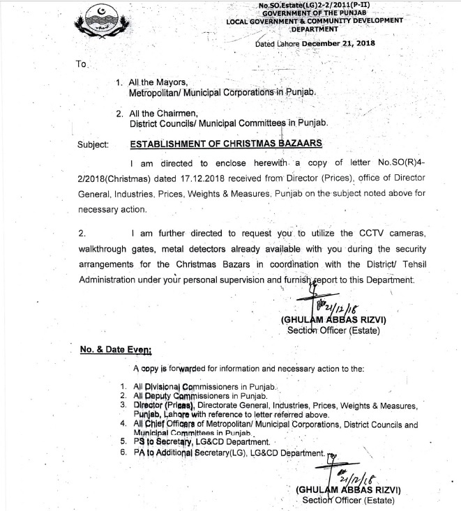 Notification of Establishment Christmas Bazars