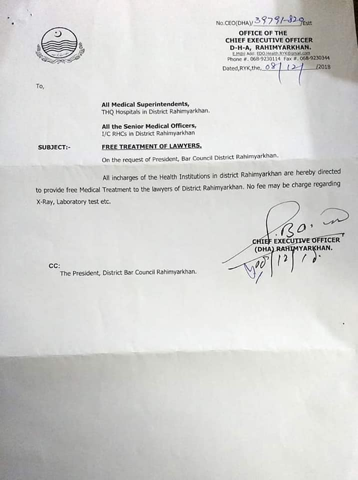 Notification of Free Medical Treatment of Lawyers