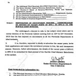 Notification of Restoration of Recruitment Process-Communication of Details of Vacant Posts BPS-01 to BPS-15