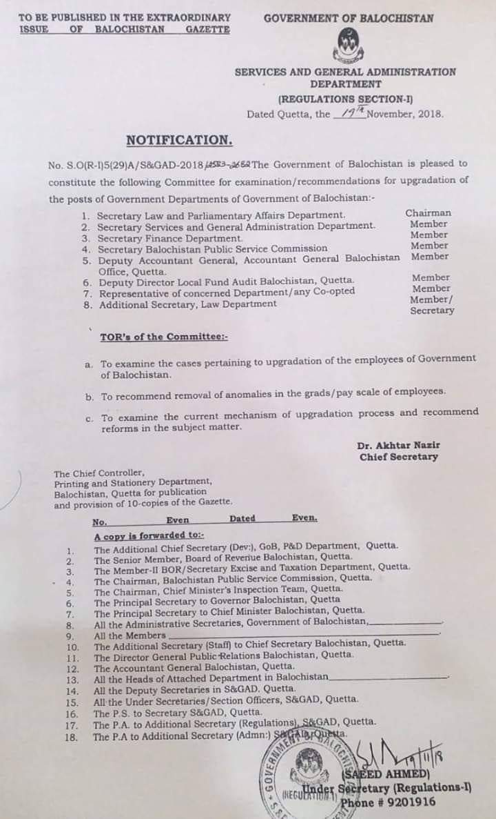 Upgradation Posts of Government Departments of Balochistan