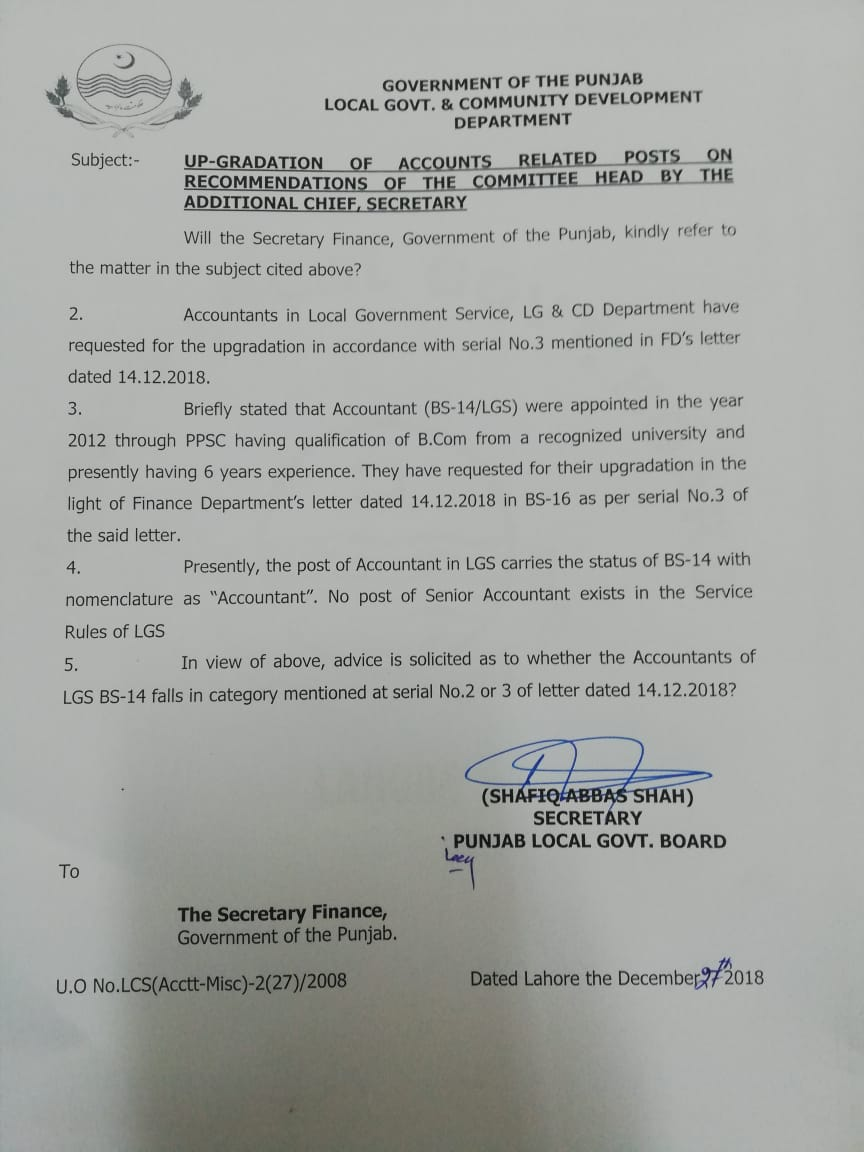Upgradation of Accounts Related Posts on Recommendations of the Committee Head By the Additional Chief Secretary