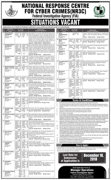 Vacancies Announcement National Response Centre for Cyber Crimes (NR3C) FIA