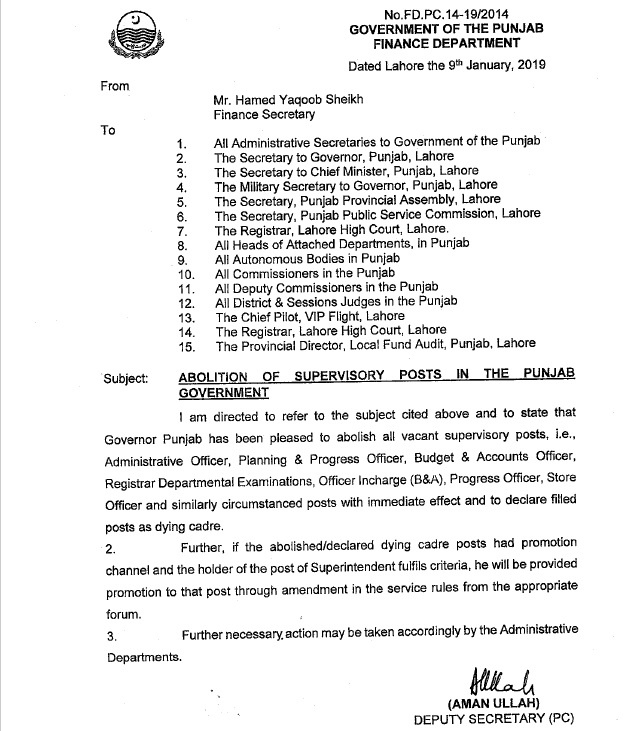 Notification of Abolition of Supervisory Posts in the Punjab Government