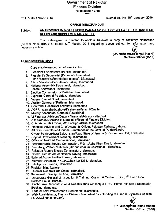Notification of Amendment in Note Under PARA-6 (A) of Appendix-7 of Fundamental Rules and Supplementary Rules