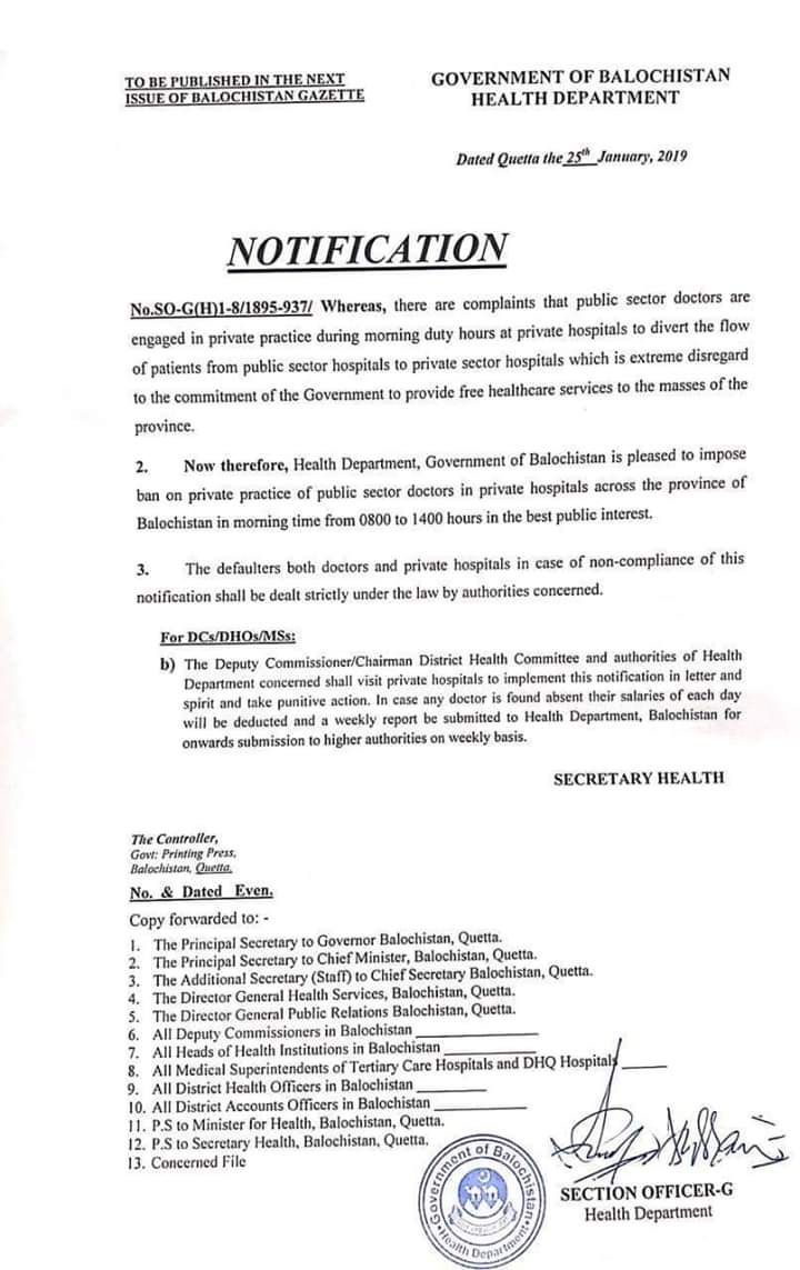 Notification of Impose Ban on Private Practice of Public Sector Doctors in Private Hospitals in the Morning Time-Balochistan