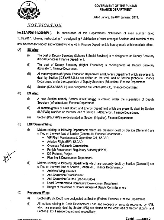 Restructuring / Re-Designating / Distribution of Work Amongst Sections and Creation of New Sections