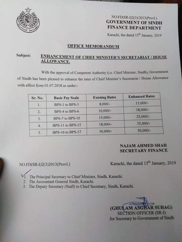 Notification of Enhancement Chief Minister Secretariat Allowance / House Allowance Sindh