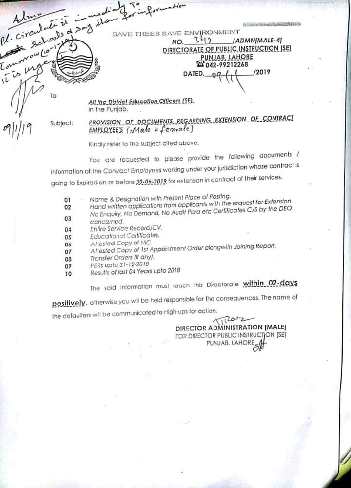 Provision of Documents Regarding Extension Contract Employees (Male & Female)