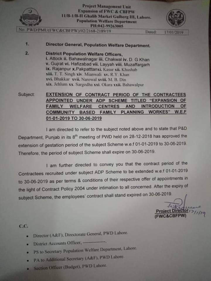 Extension of Contract Period of Contractees Appointed under ADP Scheme