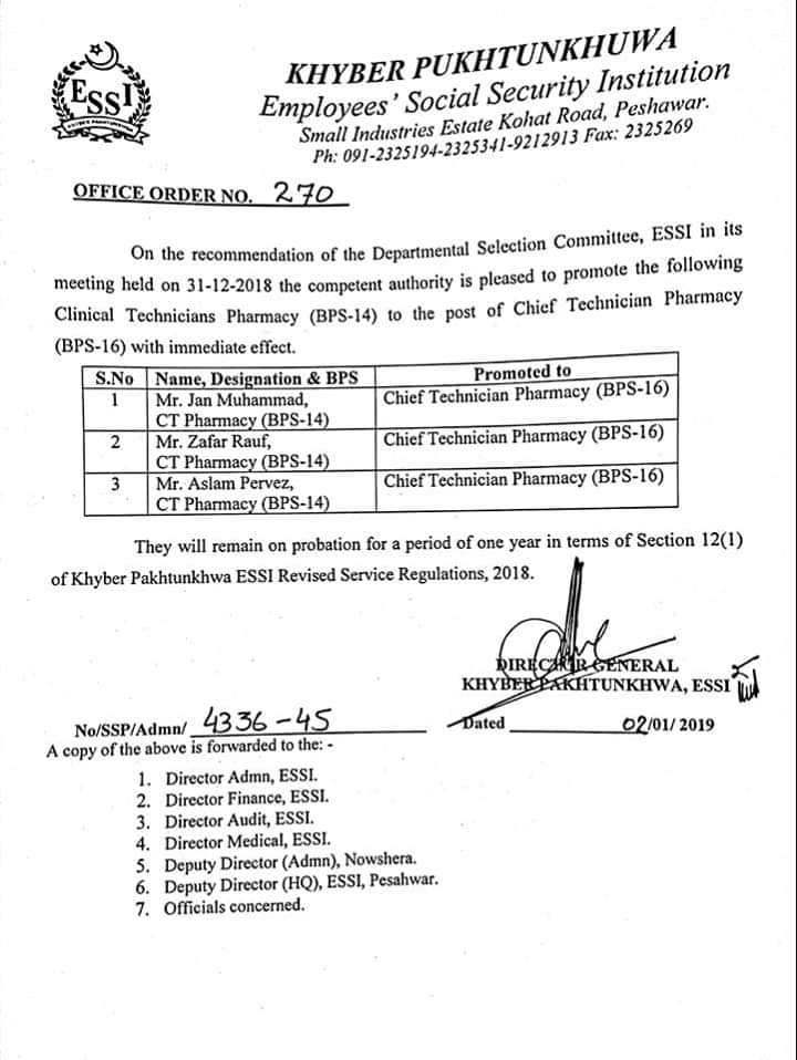 Notification of Promotion of Technicians