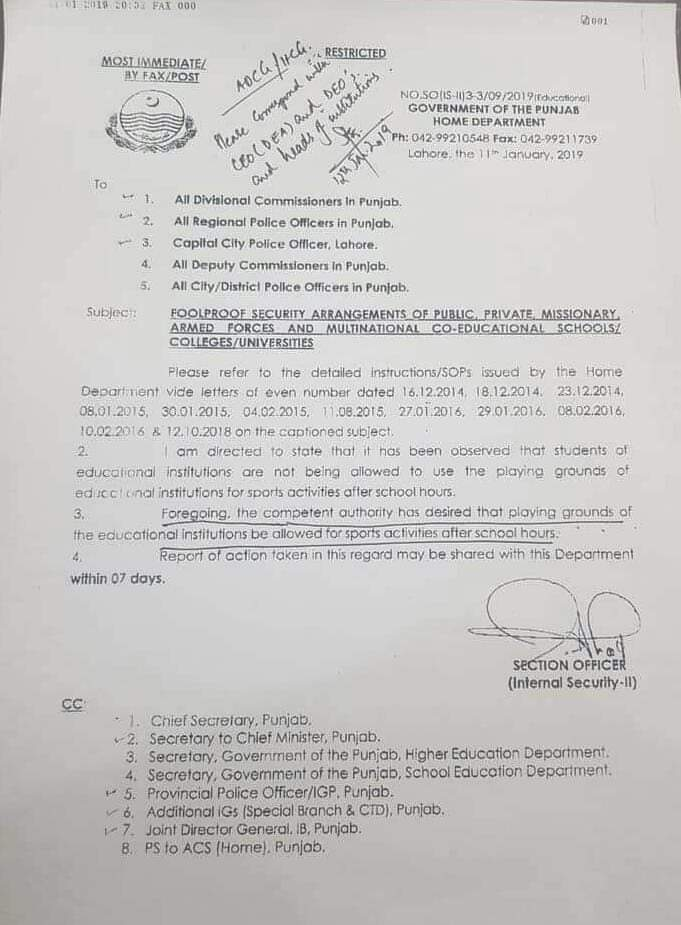 Permission to Use Playing Grounds of Educational Institutions