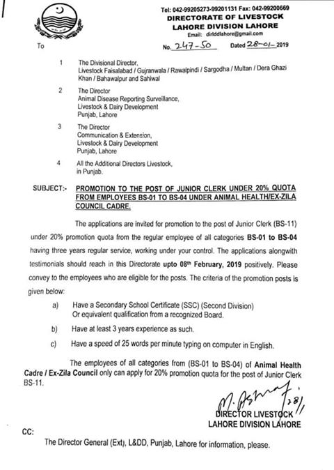Promotion Junior Clerk under 20% Quota
