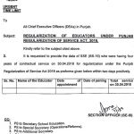 Regularization of Educators under Punjab Regularization of Service Act 2018