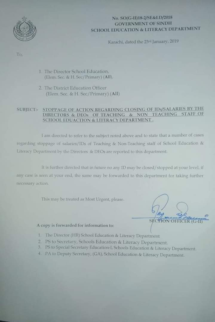 Stoppage of Action Regarding Closing of IDs / Salaries by the Directors & DEOs of Teaching & Non Teaching Staff of School Education & Literacy Department