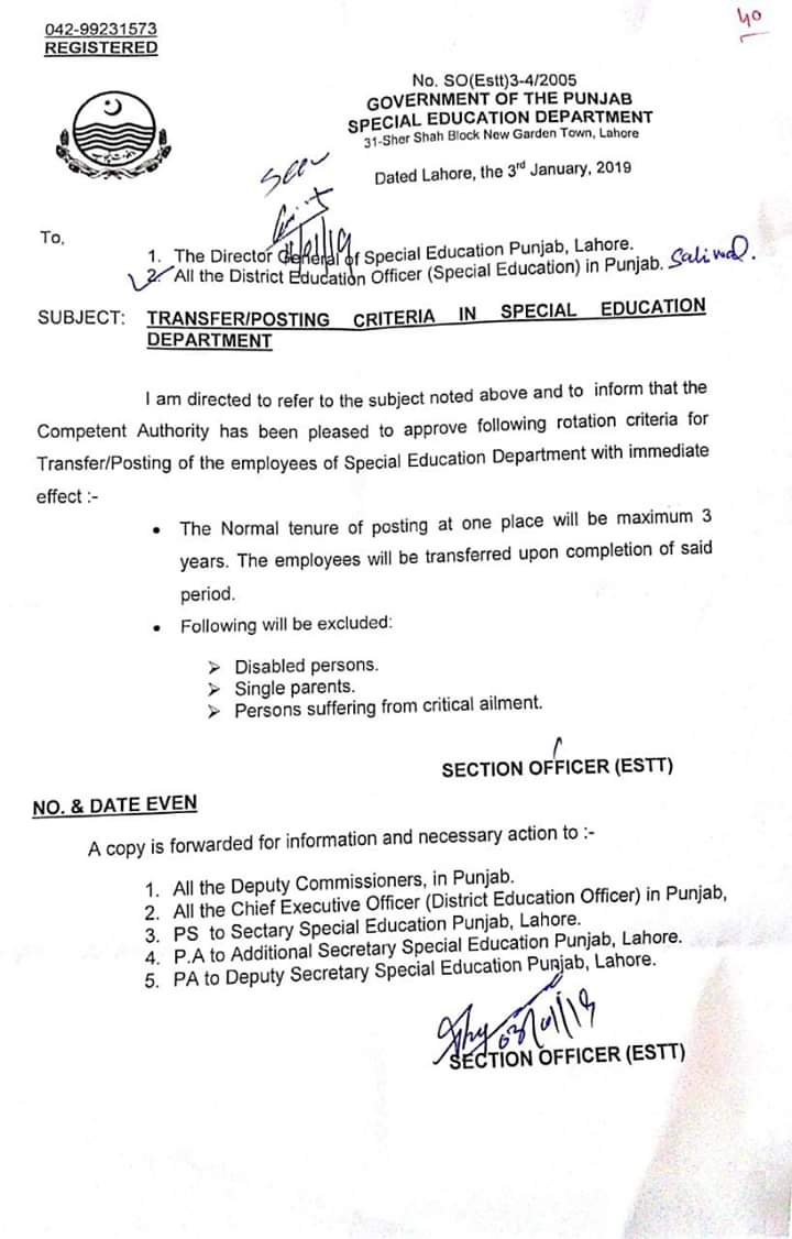 Notification of Transfer Posting Criteria in Special Education Department