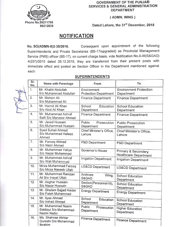 Notification of Transfer Posting of Superintendents and Private Secretaries