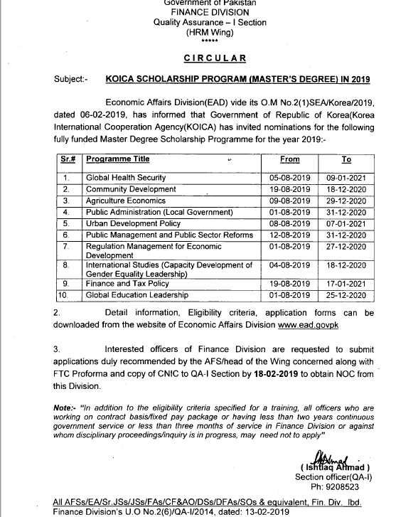 Notification of KOICA Scholarship Program (Master's Degree) in 2019