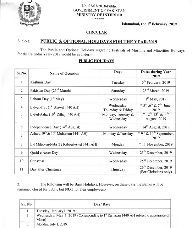 Notification of Holidays 2019 (Public & Optional)