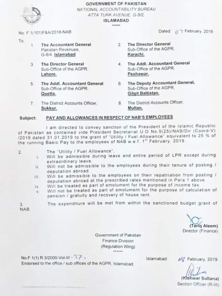Notification of Pay and Allowances NAB's Employees-Grant of Utility / Fuel Allowance 25% of Running Basic Pay
