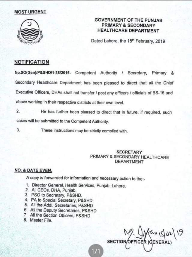 Transfer Posting of Officers
