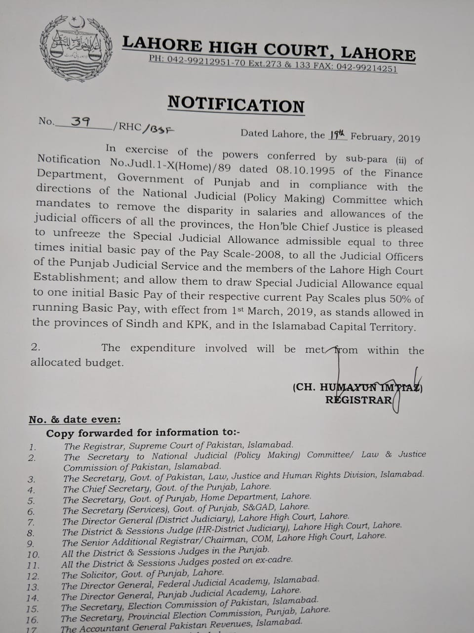 Notification of Unfreez Special Judicial Allowance Admissible Equal to Three Times Initial Basic Pay