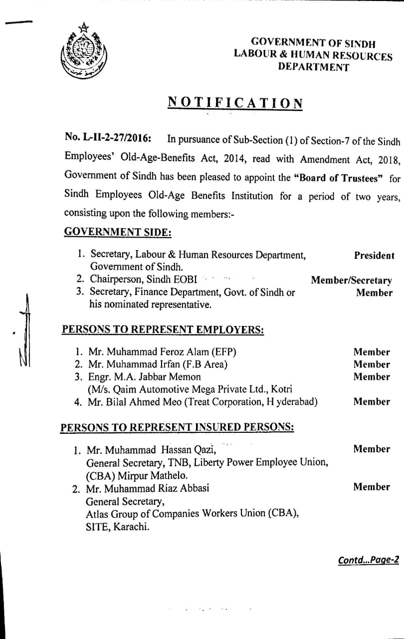 Board of Trustees for Sindh Employees Old Age Benefits Institution