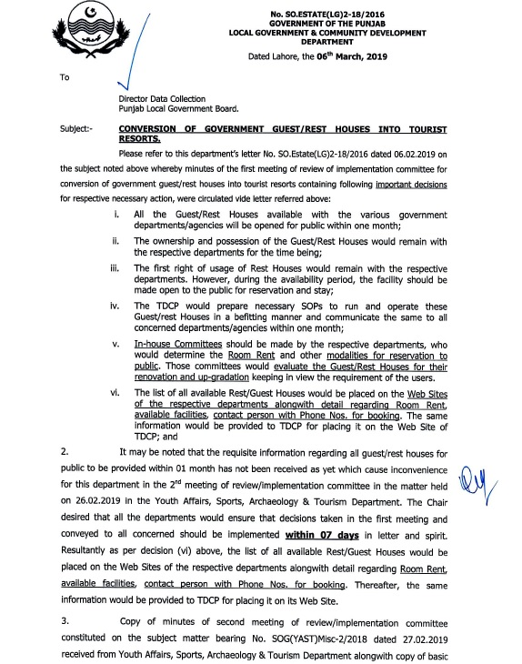 Notification of Conversion Government Guest Houses (Rest Houses) into Tourists Resorts