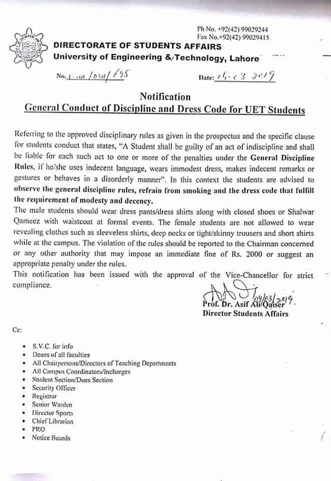 Notification of General Conduct of Discipline and Dress Code for UET Students