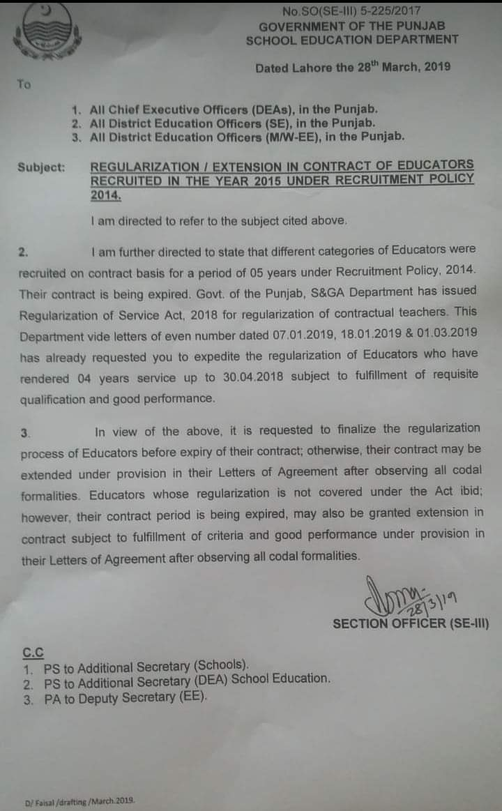 Regularization / Extension in Contract of Educators Recruited in the Year 2015