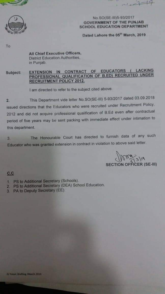 Extension in Contract of Educators (Lacking Professional Qualification of B.Ed) Recruited under Recruitment Policy 2012