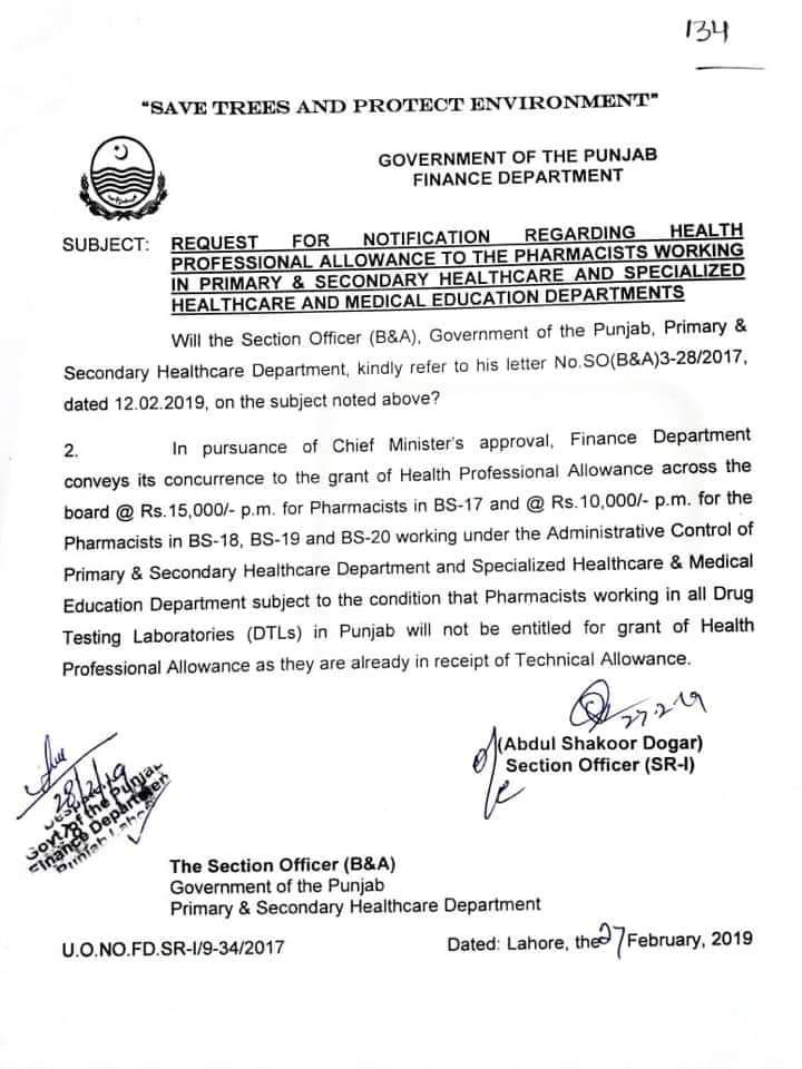 Notification Regarding Health Professional Allowance to the Pharmacists