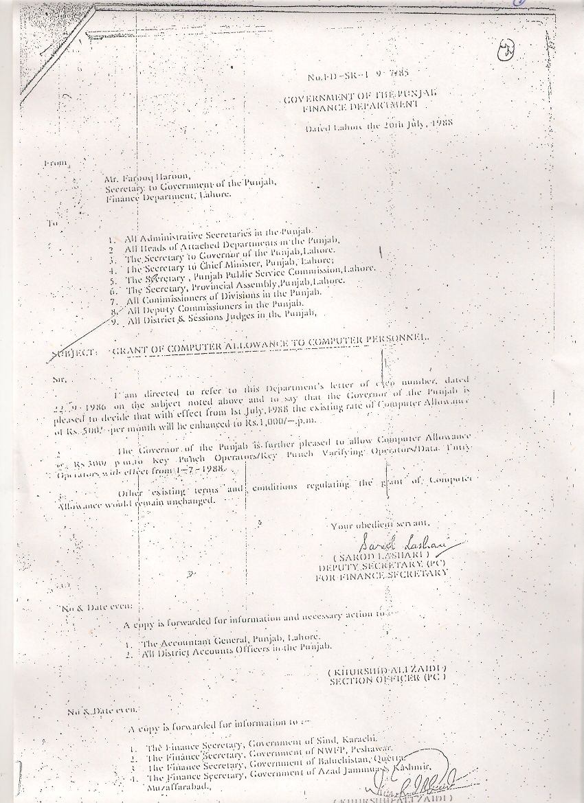 Notification of Computer Allowance to Computer Personnel