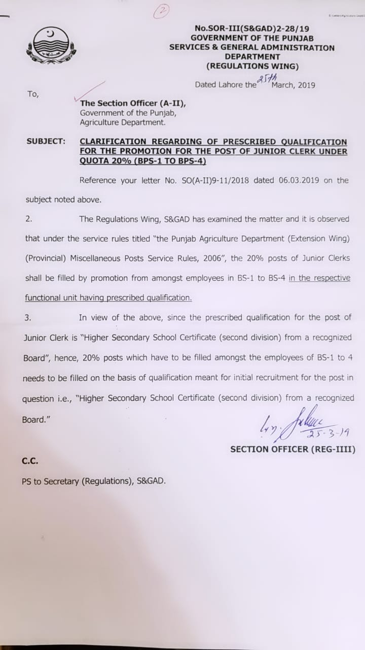 Clarification Regarding Prescribed Qualification for the Promotion of Junior Clerk under Quota 20% (BPS-01 to BPS-04)