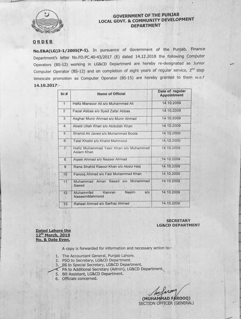Notification of Redesignation of Computer Operators as Junior Computer Operators & Time Scale Promotion