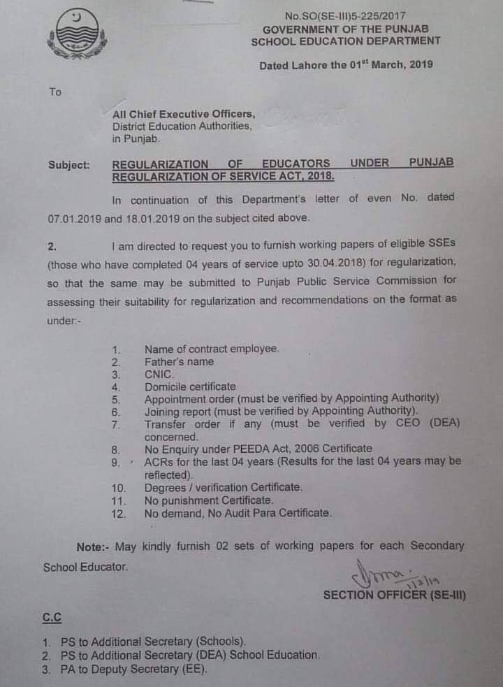 Furnishing of Working Papers for Regularization of Educators SSEs under Punjab Regularization of Service Act 2018