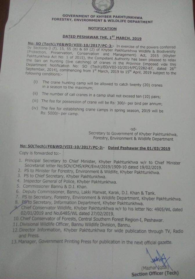 Notification of Relaxation Ban on Hunting Cranes (Live Catching) Khyber Pakhtunkhwa