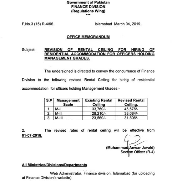 Revision of Rental Ceiling for Hiring Residential Accommodation for Officers Holding Management Grades