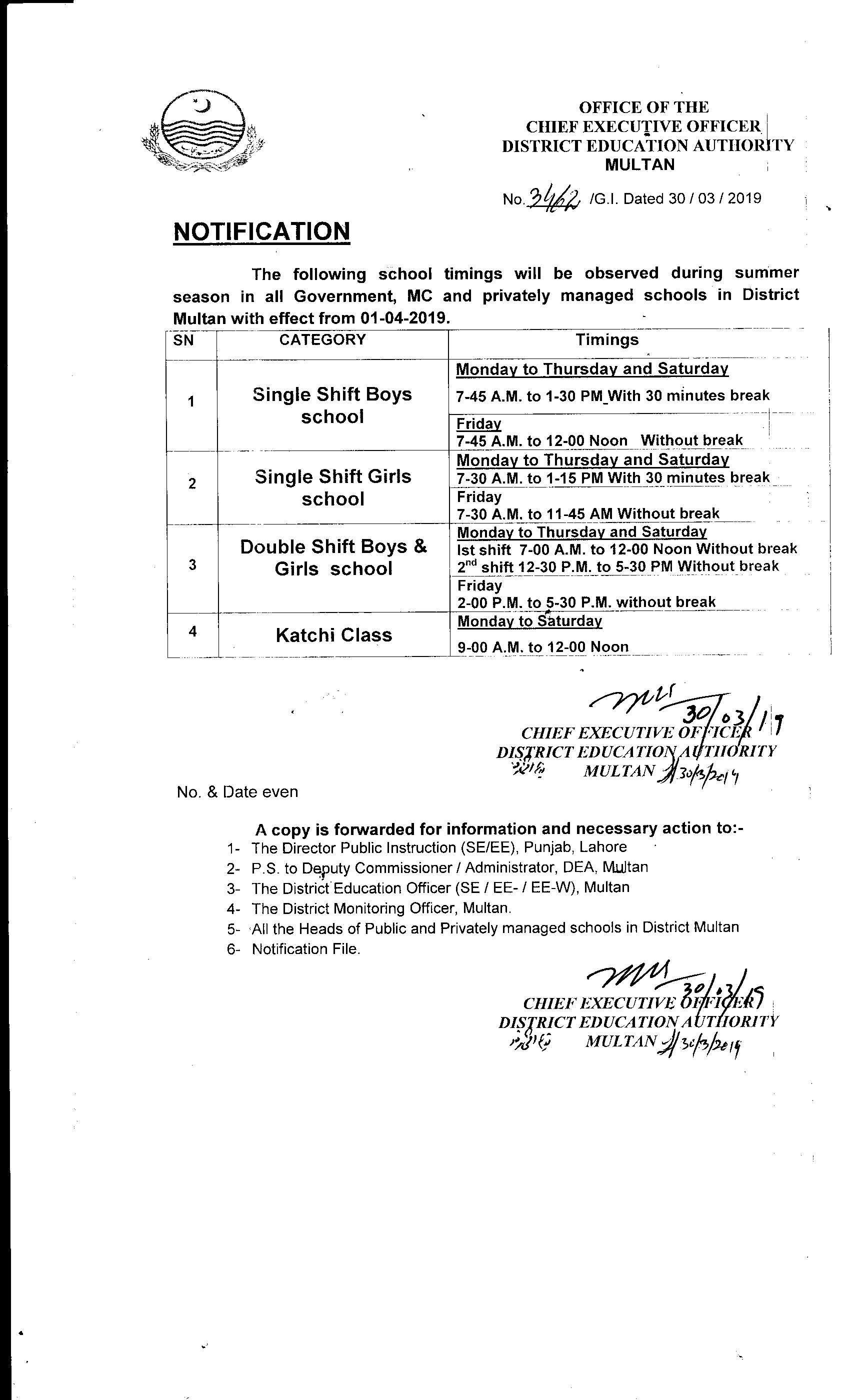 Notification of School Timings in Summer Season
