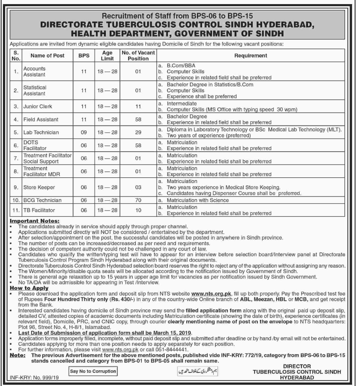 Vacancies in Health Department, Directorate Tuberculosis Control Sindh