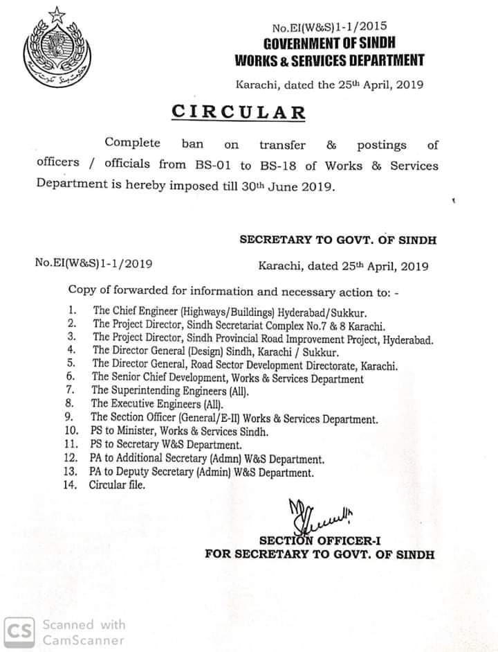 Ban on Transfer Posting of Employees from BPS-01 to BPS-18 Works & Services Department Sindh