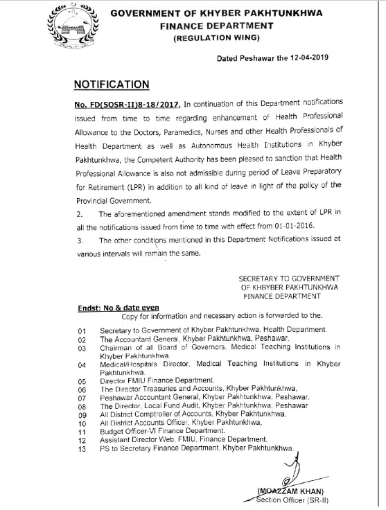 Notification of Clarification of Health Professional Allowance during LPR – KPK