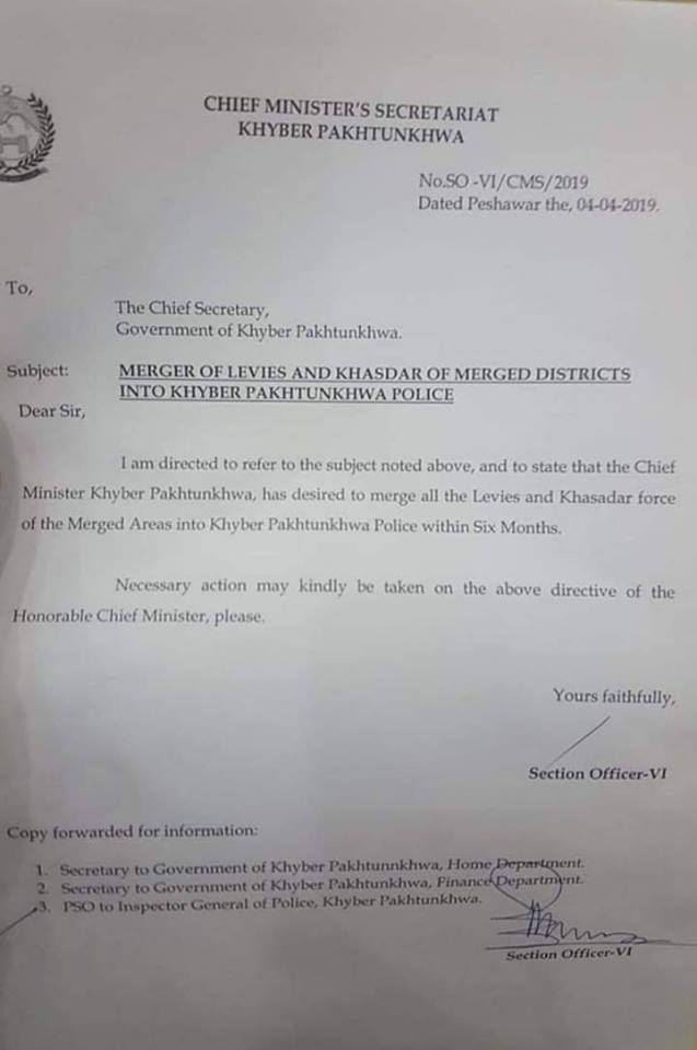 Merger of Levies and Khasadar of Merged Districts into Khyber Pakhtunkhwa Police