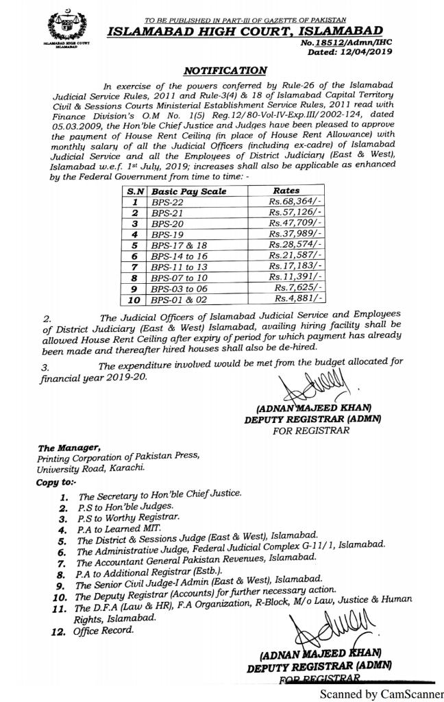Notification of Payment House Rent Ceiling with Monthly Salary Islamabad Judiciary